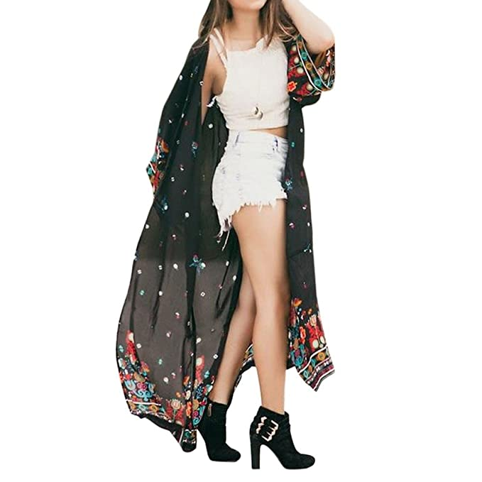 84ef7cd383 WM   MW Women 3 4 Sleeves Loose Floral Bohemian Chiffon Long Kimono  Cardigan Shawls