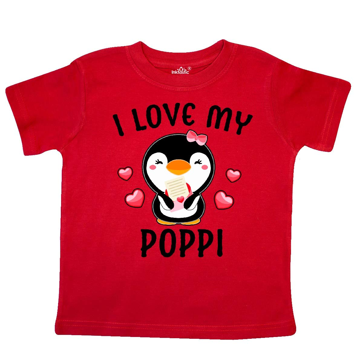 inktastic I Love My Poppi with Cute Penguin and Hearts Toddler T-Shirt