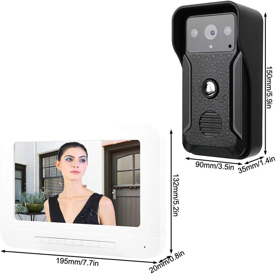 Sistema de intercomunicaci/ón con Timbre de Video con LCD de 7 Pulgadas con c/ámara de 1000TVL para Exteriores monitoreo Videoportero EU Soporte de visi/ón Nocturna por Infrarrojos desbloqueo
