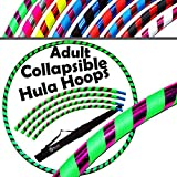 PRO Hula Hoops COLLAPSIBLE (Ultra-Grip/Glitter Deco) TRAVEL Hula Hoop + Bag! (100cm/39″) Hoola Hoops For Exercise, Dance & Fitness! (700g / 29.6oz) NO Instructions Needed (Green / Purple Glitter)