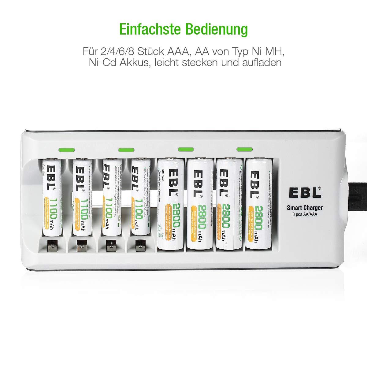 EBL AA Akkuladegerät Sets inkl. 8-Fach Batterieladegerät für AA AAA NI-MH NI-CD Akkus und 8 Stück AA NI-MH Wiederaufladbare Batterien