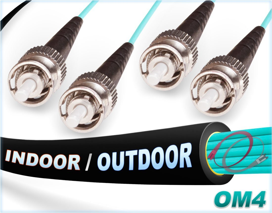 OM4 ST ST In/Outdoor Duplex Fiber Patch Cable 100G Multimode 50/125 - 10 Meter FiberCablesDirect FCDUS393v11339