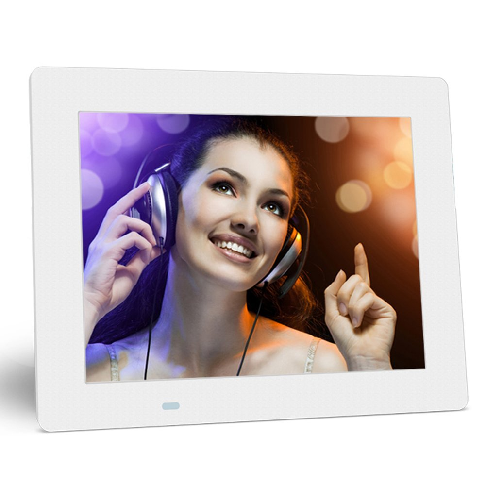Digital Photo Frame with Max 32GB Storage Media LCD Screen Ultra Slim Design,8 inch,White