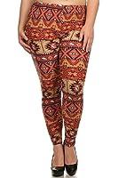 Elegant4U Women's Printed Plus Size Leggings