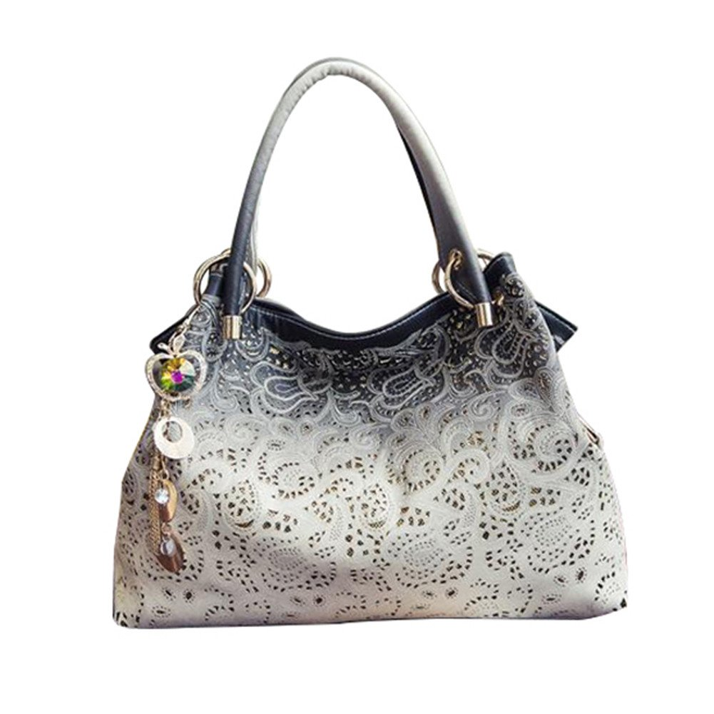 Butterfly Iron Practical Women Handbags Tote Bags Faux Leather Shoulder Bags Large Capacity