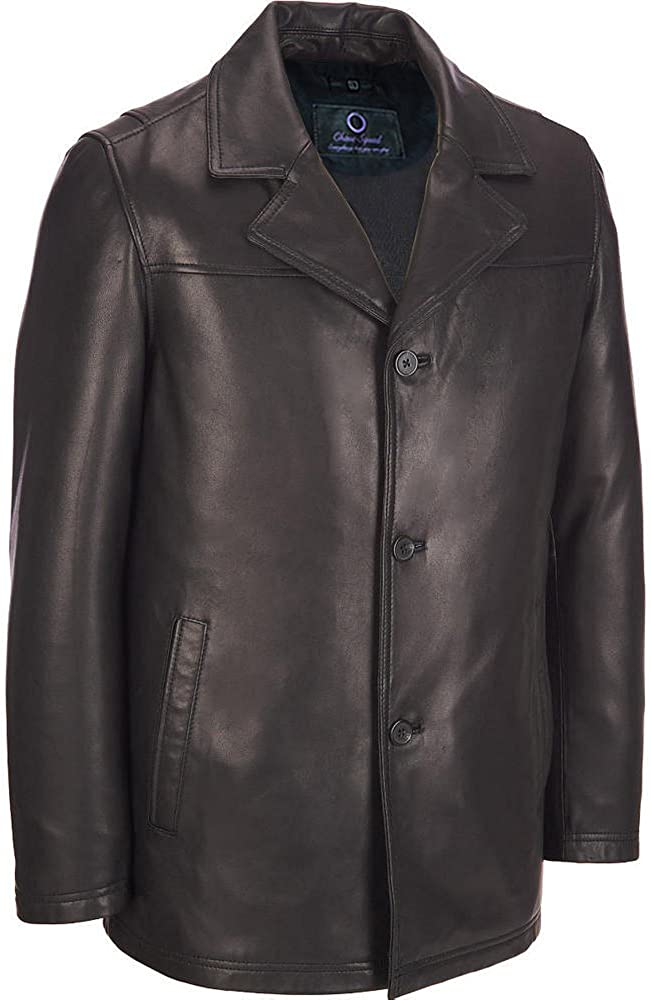 Trench Leather Coat Chase Squad Hipster Premium Lambskin Leather Coat Men Men/'s 3 Button Closure Leather Coat in Black
