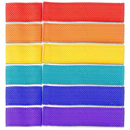 Three-Legged Race Team Relay Ties, 6-pack | Six Colorful Nylon Bands for Three-Leg Outdoor Games, Field Days, Gym Class, School Events, Birthday Parties, Competitions | Classic Family Fun Activity