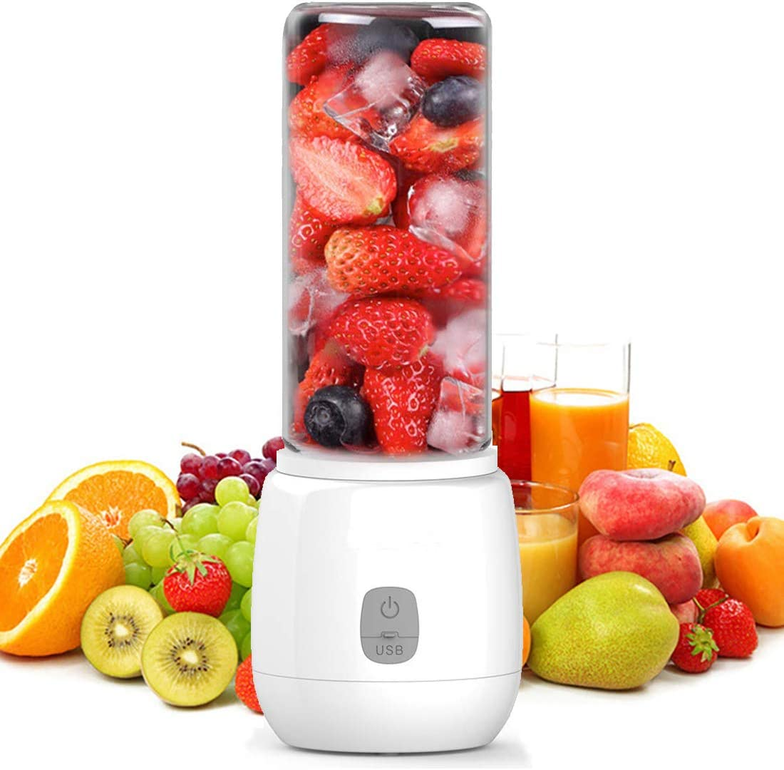 Portable Blender, XVZ Personal Smoothie Mini Mixer Juicer Cup,420ml Fruit Mixing Machine,Rechargeable USB Blender,Ice Tray, Detachable Cup, Perfect Blender for Office,Sports,Trip Built-in Battery - White