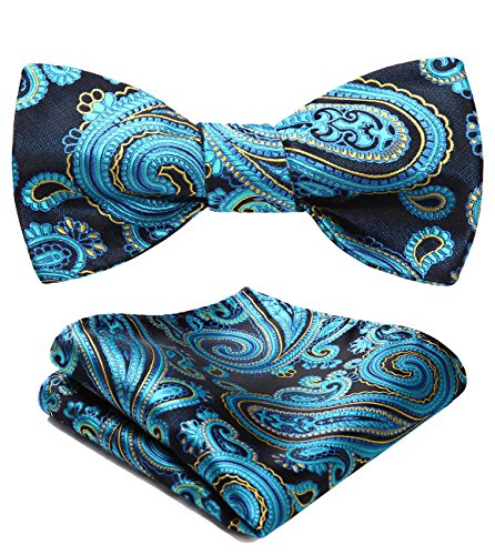 Floral Jacquard Woven Party Self Bow Tie Set Blue / Yellow ()