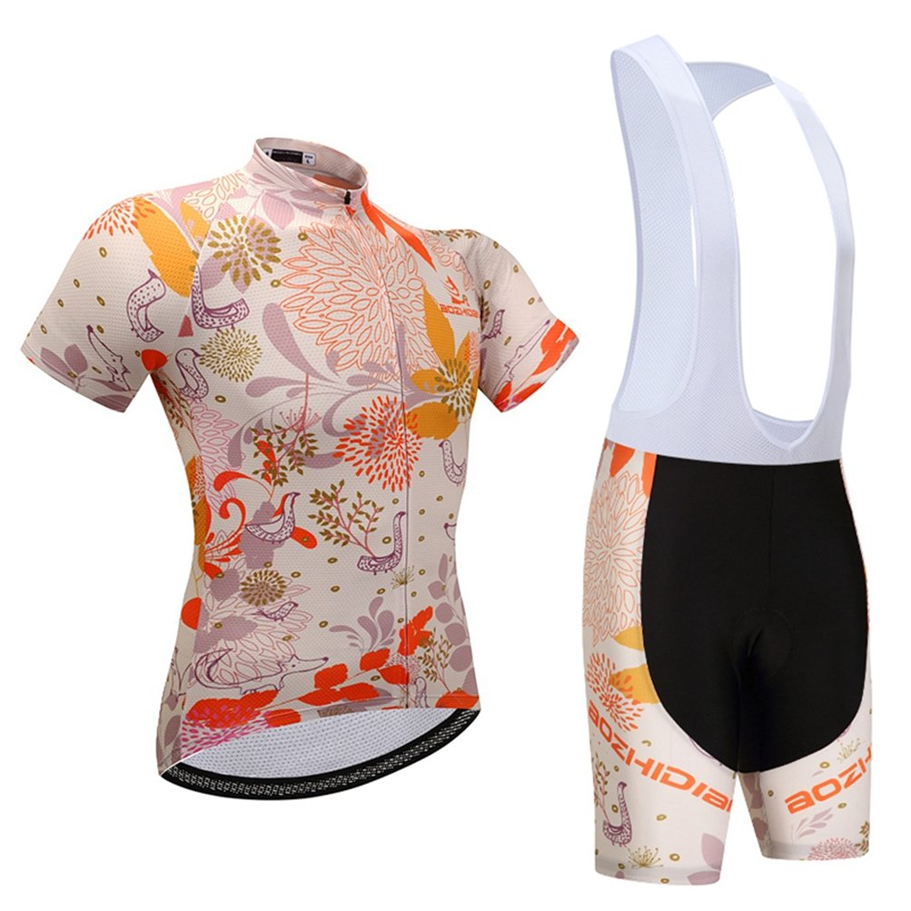 Uriah Women's Cycling Jersey White Bib Shorts Sets Short Sleeve Garden Size 5XL(CN) by Uriah