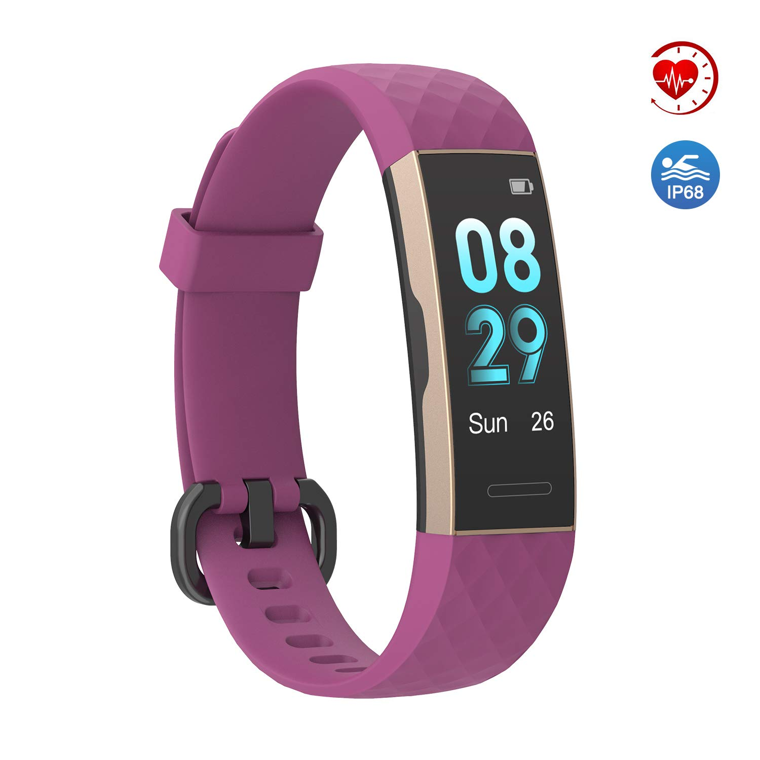 YoYoFit Sage Fitness Tracker Pedometer Watch,IP68 Waterproof Activity Tracker with Heart Rate Monitor,Step Calorie Counter,Sleep Monitor,Multi-Sports Model with Connected GPS for Men Women Kids