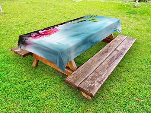 Lunarable Zen Outdoor Tablecloth, Zen Waterlillies Spa Theme Meditation Nature Feng Shui Natural Calm Water, Decorative Washable Picnic Table Cloth, 58 X 104 inches, Pale Blue Green Pink by Lunarable (Image #2)