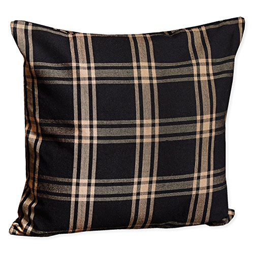 Classic Black & Tan Plaid Accent Pillow 18x18inch one side - Gusseted Square Pillow