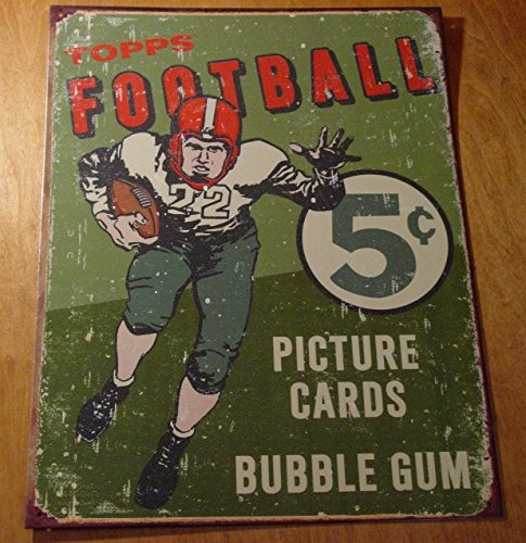 Rustic Vintage Style Topps Football Card Pack Rustic Advertising Sign Decor ()