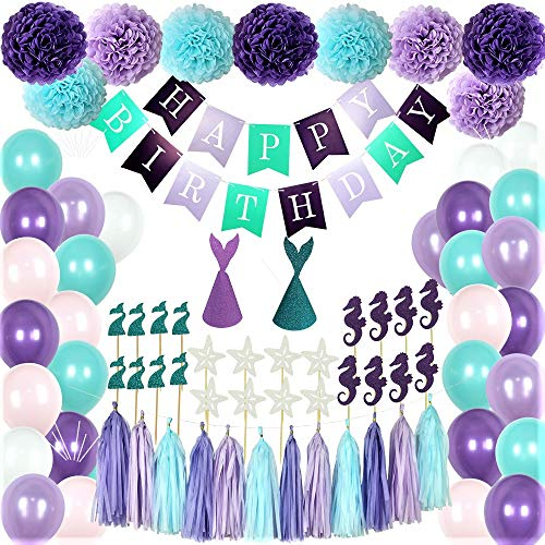 Mermaid Party Supplies - 88 Pack Mermaid Birthday Party Decorations for Girls Birthday Party Baby Shower Bridal Shower Decorations Little Mermaid Party Under the Sea Ariel Birthday Party - Premium Quality with extra added Bonus