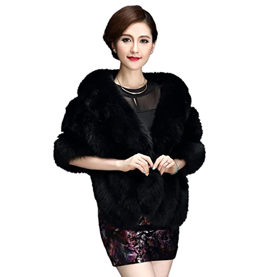 Lisa Colly Women's Faux fur Coat Soft Faux Fox Fur Shawl (Black ...