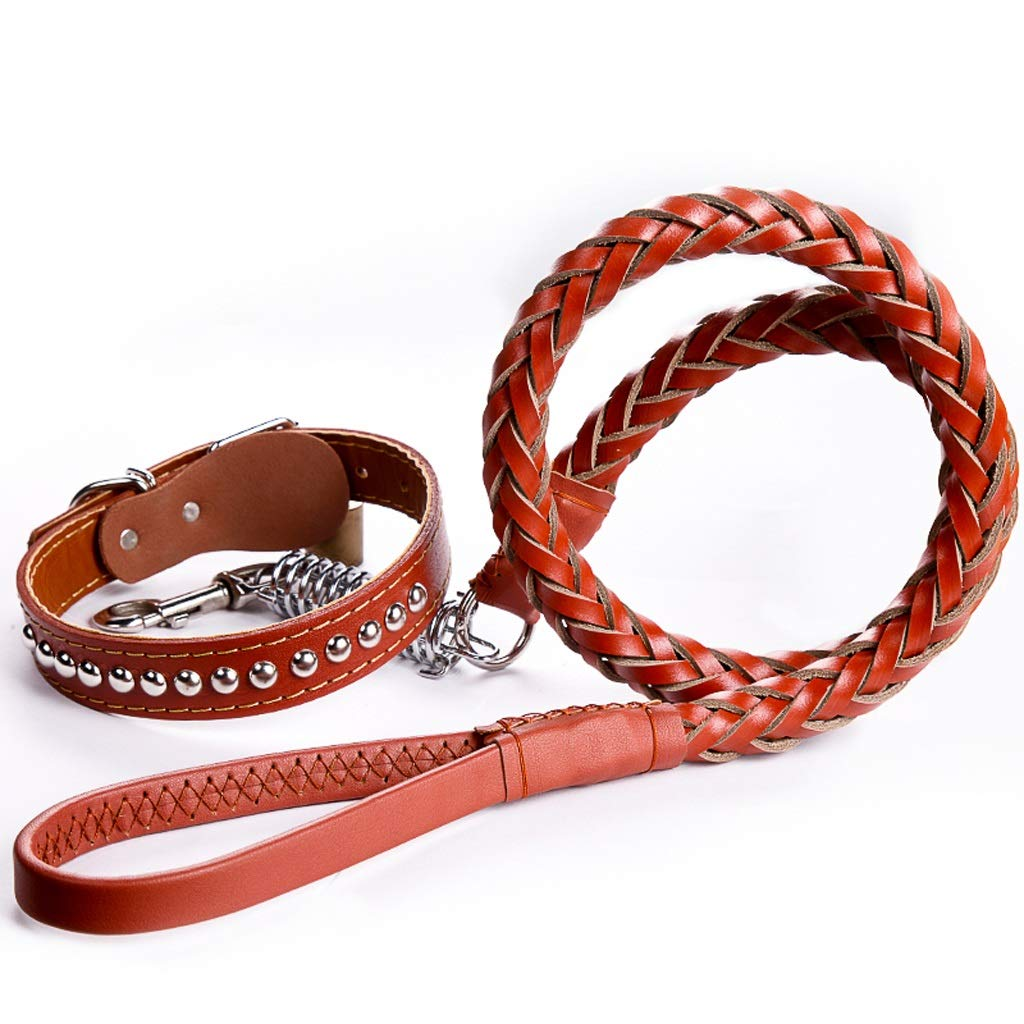 Red Leather Dog Chain Dog Leash Traction Rope Dog Collar Dog Chain Pet Dog Supplies (for Large and Medium Dogs) (color   Red)