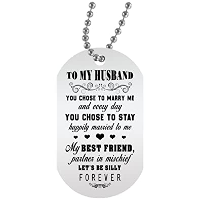 bafb43d0b7 eConvenience Store Husband Necklace from Wife Dog Tags Personalized -  Personalized Gift for Him on Birthday