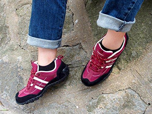 Low de y Ligeros Knixmax Trail Antideslizante Gris Seguridad Cómodos Vino Senderismo Rojo Top para Mujer de Negro Zapatillas Deporte de Zapatillas Transpirables Trekking Montaña Rojo Zapatillas de 77HqTZ