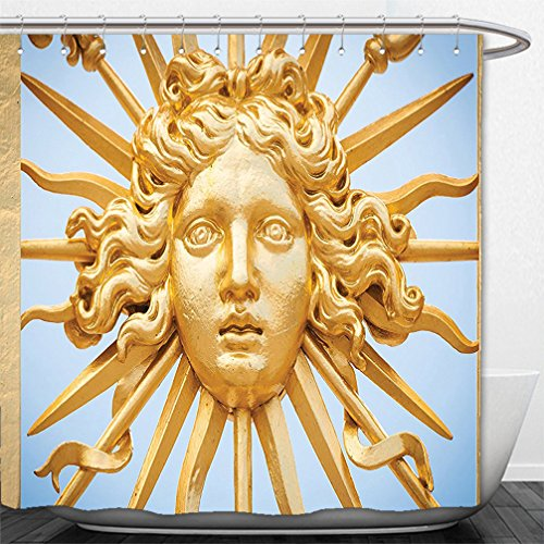 Interestlee Shower Curtain Trippy Chateau De Versailles Golden Gate Sky Monuments French Style Decor Digital Printed For House Decorations Gold Blue