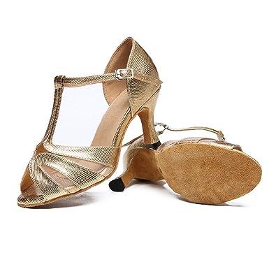 WYMNAME Womens Latin Tanzschuhe,Dancing Schuhe Sandale Ballroom Dance Schuhe-Golden Fußlänge=25.3CM(10Inch)