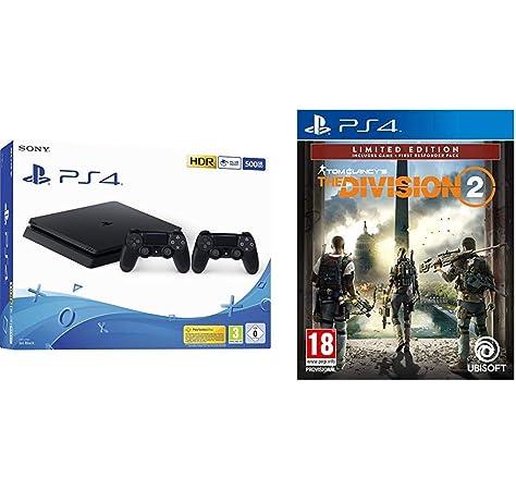 Playstation 4 (PS4) - Consola 500 Gb + 2 Mandos Dual Shock 4 (Edición Exclusiva Amazon) - nuevo chasis F + The Division 2 (Edición Exclusiva Amazon): Amazon.es: Videojuegos