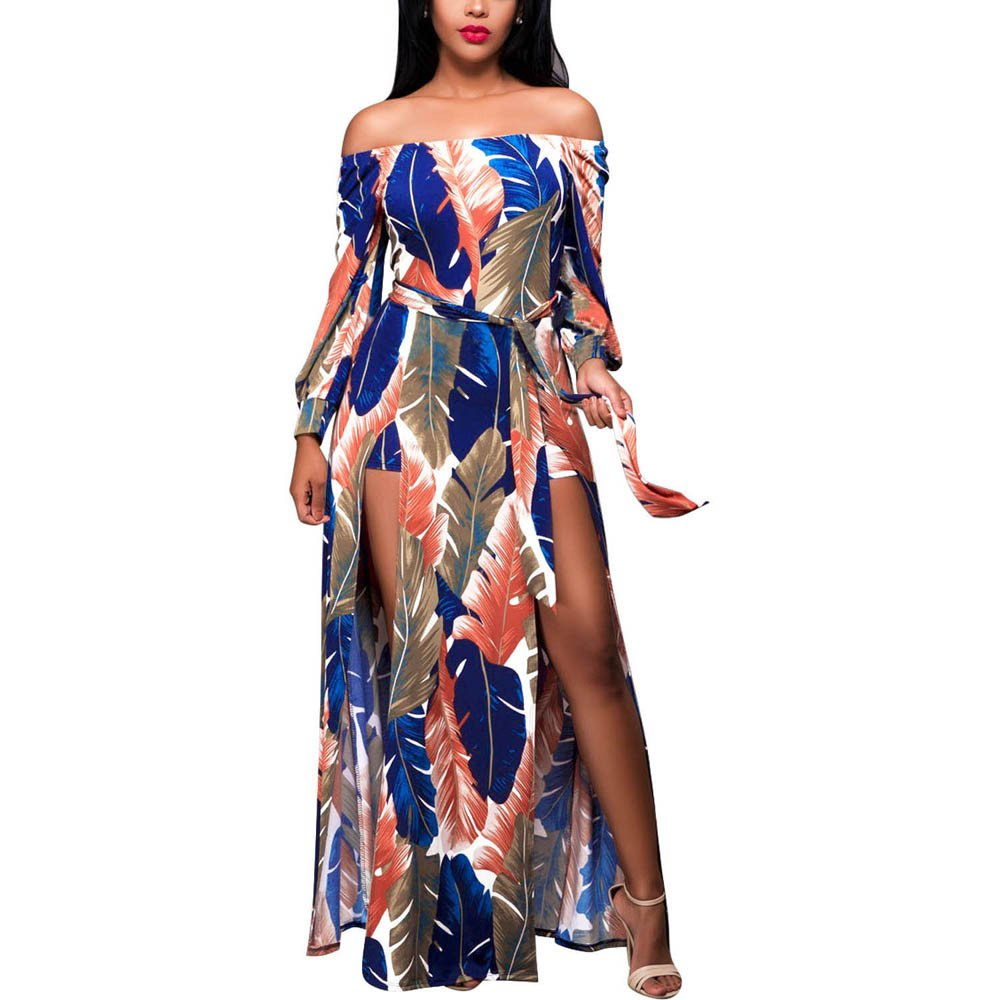 Womens Elegant Floral Print Off Shoulder Long Sleeve Split Party Maxi Dress with Belt (XL, Multicolor) by Women Dresses Hechun