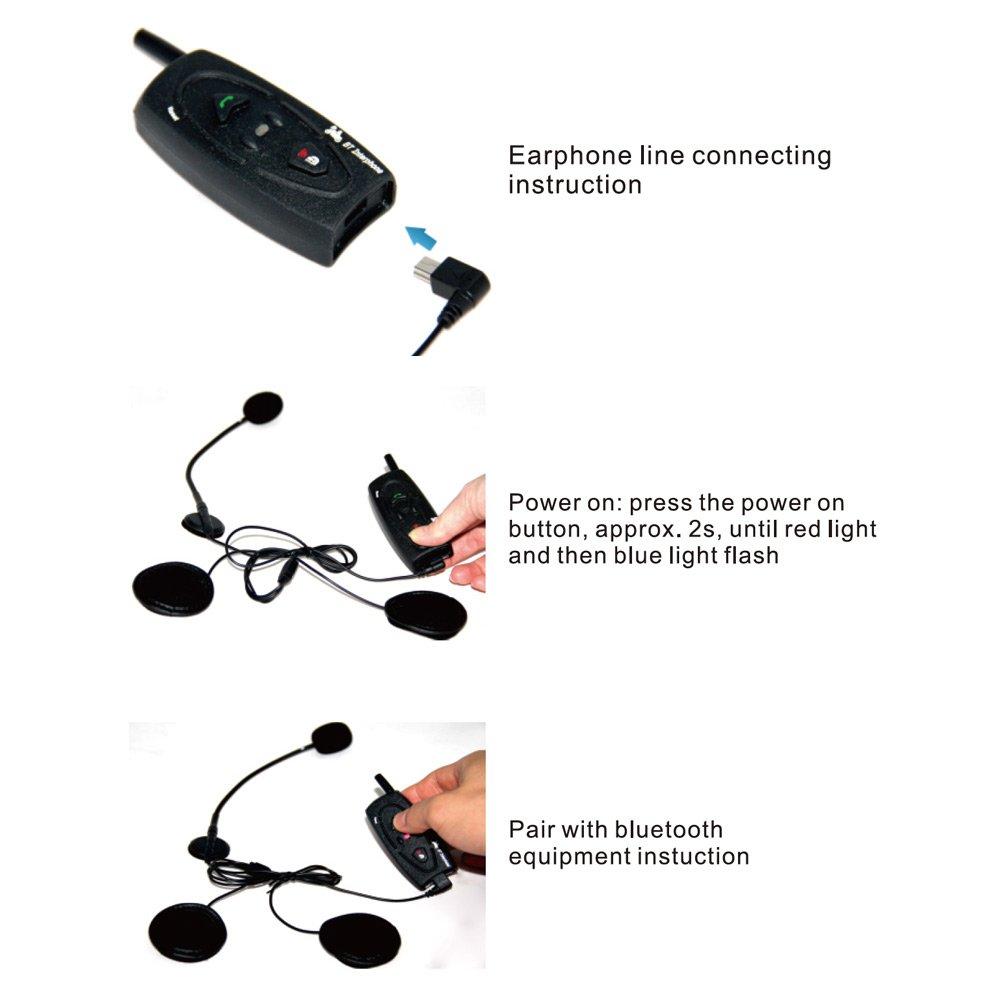 CARCHET 2x Intercomunicador y auriculares universal Bluetooth para Moto Manos libres: Amazon.es: Coche y moto