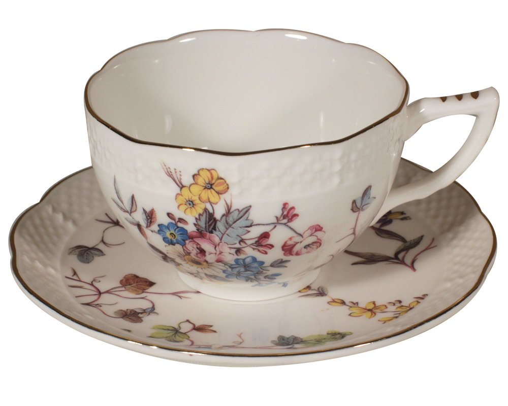 Gracie China by Coastline Imports 8-Ounce Tea Cup and Saucer with Elegant Embossed Texture, Meadow MF314-4