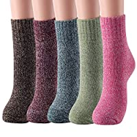 5 Pairs Womens Wool Socks Thick Warm Winter Vintage Knit Thermal Socks Gifts
