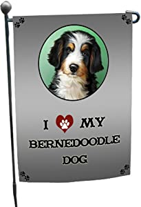 I Love My Bernedoodle Dog Garden Flag