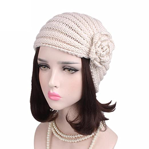 da95d064b5b Fabal Women Flowers Chemo Hat Beanie Scarf Turban Head Wrap Warm Winter Hats  for Women Muslim
