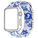 Bandmax Lederarmband mit Magnetverschluss Chinoiserie Porzellan Design Ersatzarmband Sportliches Armband für Apple Watch 38MM Series 1/Series 2