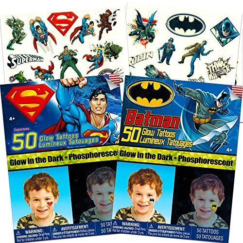 Batman v Superman Temporary Tattoos Party Favor Set (50 Batman Tattoos, 50 Superman Tattoos) -