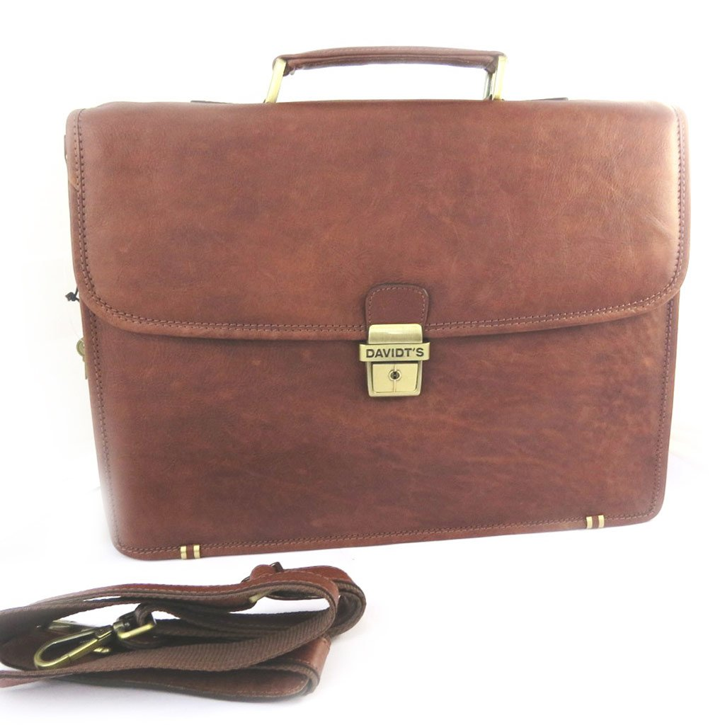 Brown leather briefcase vend/ôme 15 . 1 boot