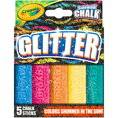 k, Glitter Sidewalk Chalk, Summer Toys, 5 Count ()