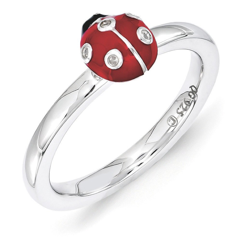 Sterling Silver Stackable Enamel .015Ctw Diamond 7mm Ladybug Ring Sz 9