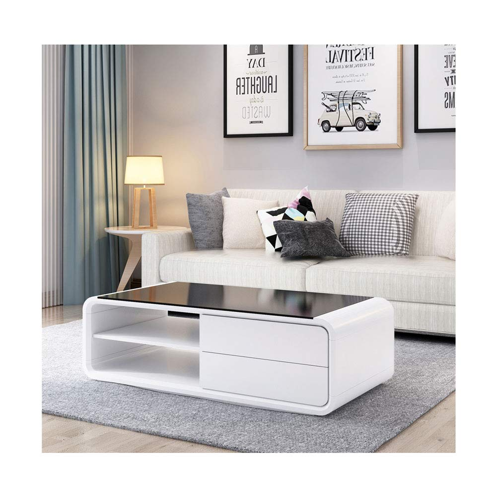 Shinawood White Coffee Table High Gloss with 2 Drawers Storage Space Tempered Black Glass Living Room Coffee Table/Side Table for Living Room Home Decoration
