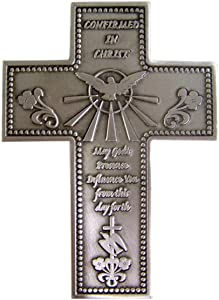 Religious Home Decor Silver-Toned Pewter Confirmed in Christ Confirmation Hanging Wall Cross, 5 1/4 inches