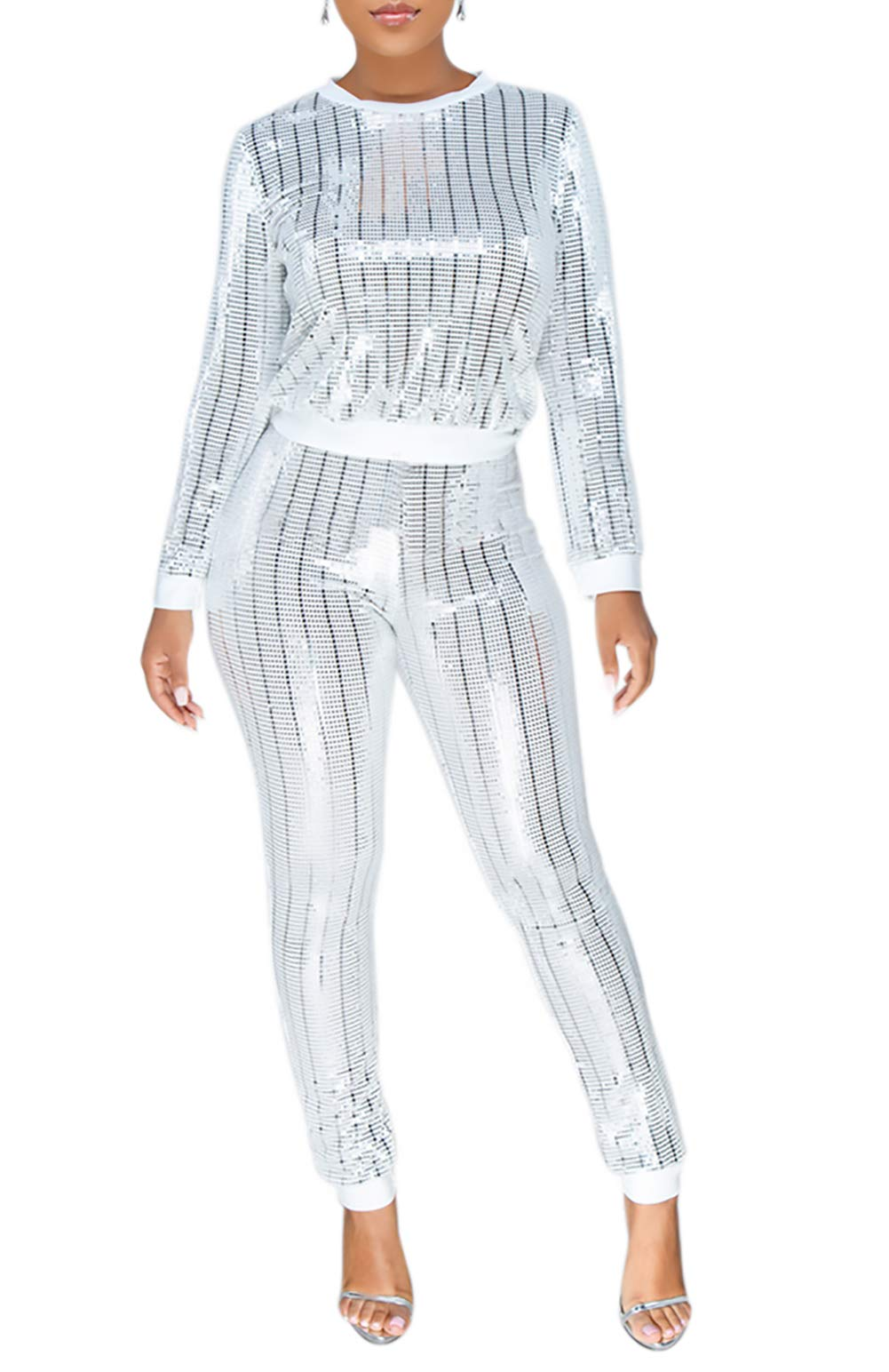 Lucuna Women 2 Piece Tracksuit Set Long Sleeve High Waist Pants Set,White,XX-Large