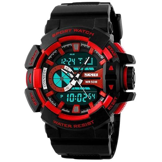 SKMEI - Reloj Digital Deportivo con Doble Horarios Movimiento Múltiples Funciones Alarma Calendario Cronómetro Resistente al Agua para Hombres Chicos ...