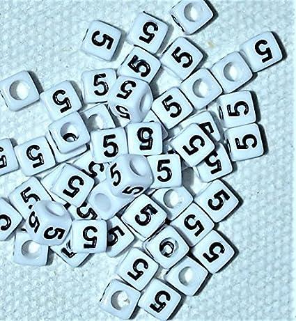 2 6/mm Blanc avec N /° 3 perles Num/éro de 100/pcs Acrylique Cube Noir de perles num/éro Unique 1 4,... 9