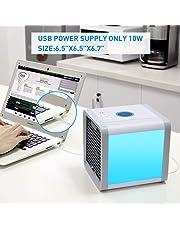 Aire Acondicionado Portátil Enfriador ,Climatizador Evaporativo, Aire Acondicionado, 3-en-1 Mini Enfriador Humidificador Purificador de Aire Portátil USB Aire Acondicionado [Sin Freón & Respetuoso del Medio Ambiente] para Casa/Oficina/Camper/Garaje