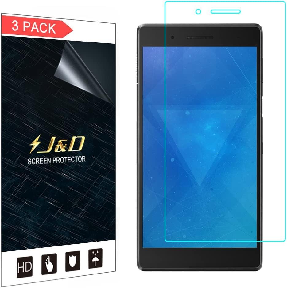J&D Compatible for 3-Pack Lenovo Tab 7 Screen Protector, [Not Full Coverage] Premium HD Clear Film Shield Screen Protector for Lenovo Tab 7 Crystal Clear Screen Protector