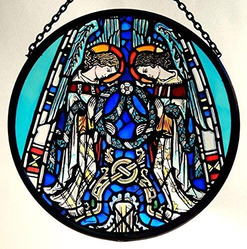 Decorative Hand Painted Stained Glass Window Sun Catcher Roundel in an Angels Praising Design from Glasgow Cathedral.