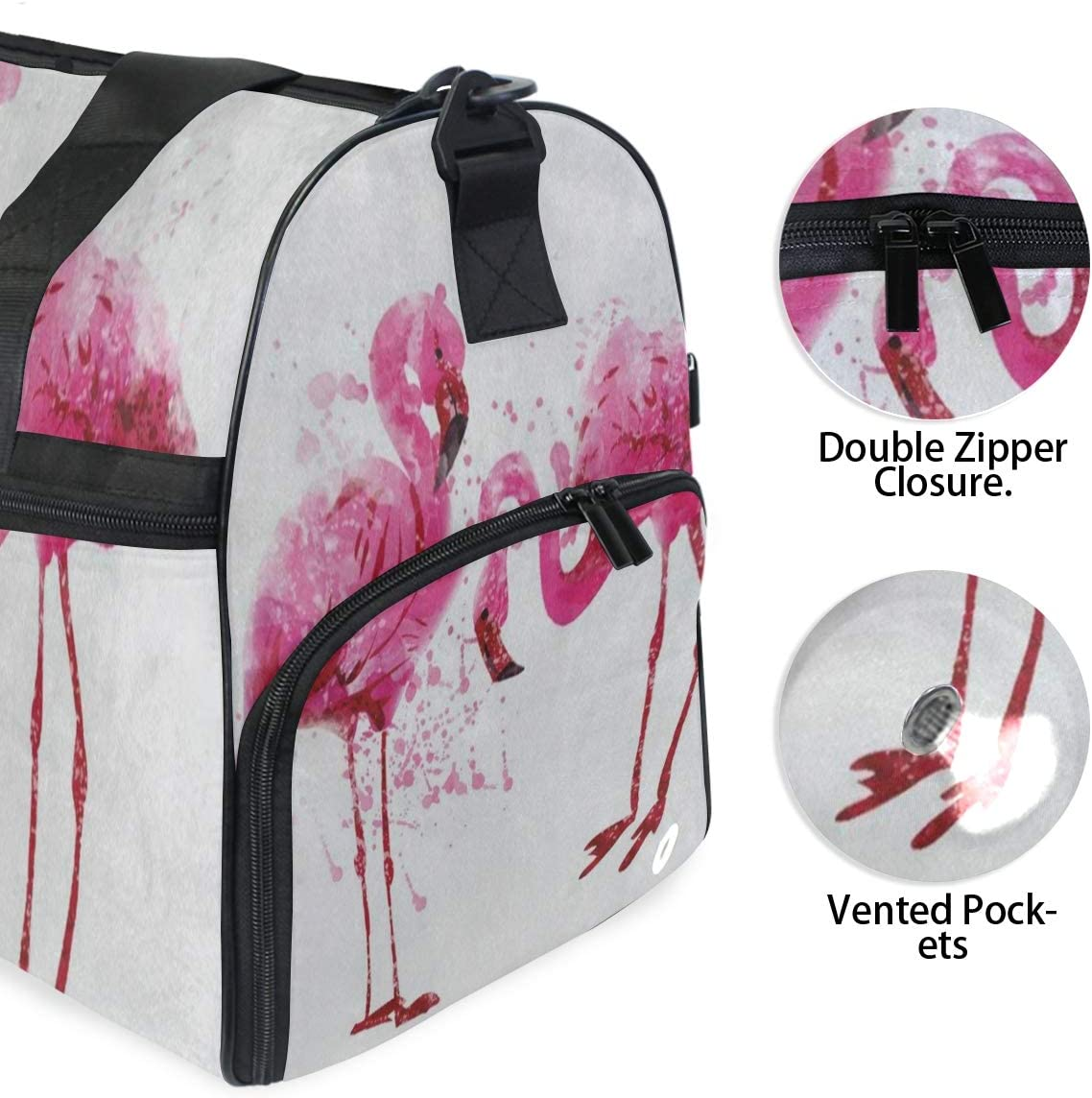Casual Fashion Bag With Shoes Compartment Foldable Duffle Bag For Men Women 2 Travel Gym Bag Watercolor Pink Flamingo