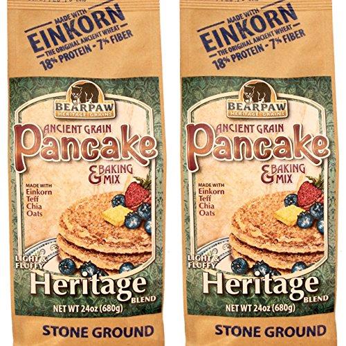 (2-pack) Bearpaw Ancient Grain Pancake Mix, Heritage Blend (24 ounce), Einkorn, Teff, Chia, Oats, 16% protein, BearpawGrains 861262000340