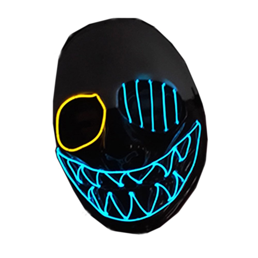 Latburg Scary Led Mask Purge Halloween Light Up Professional Rave Costumes Glow Stick Led Face Changeable Party City Mask for Parties Festival Costume