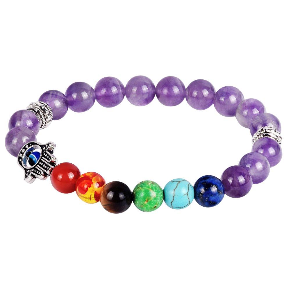 Longbeauty 1pcs Unisex Purple Crystal Hamsa Hand Charm Bead Wrap Bracelet