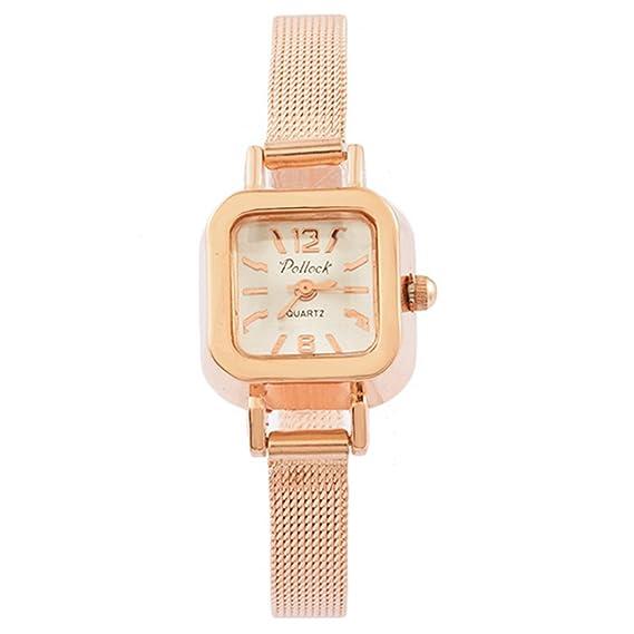 Souarts mujer reloj pulsera cuarzo Analog Reloj Cuadrado Acero Color de rosa de oro 21,